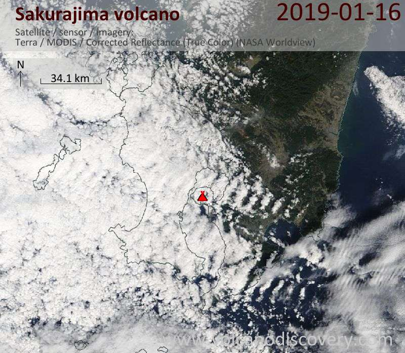 Satellite image of Sakurajima volcano on 16 Jan 2019