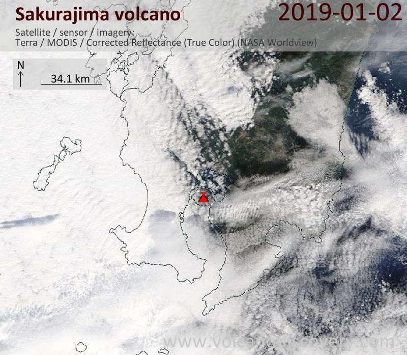 Satellite image of Sakurajima volcano on  2 Jan 2019