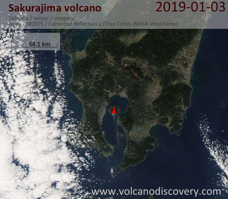Satellite image of Sakurajima volcano on  3 Jan 2019