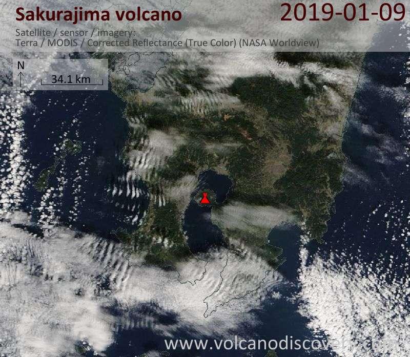 Satellite image of Sakurajima volcano on  9 Jan 2019
