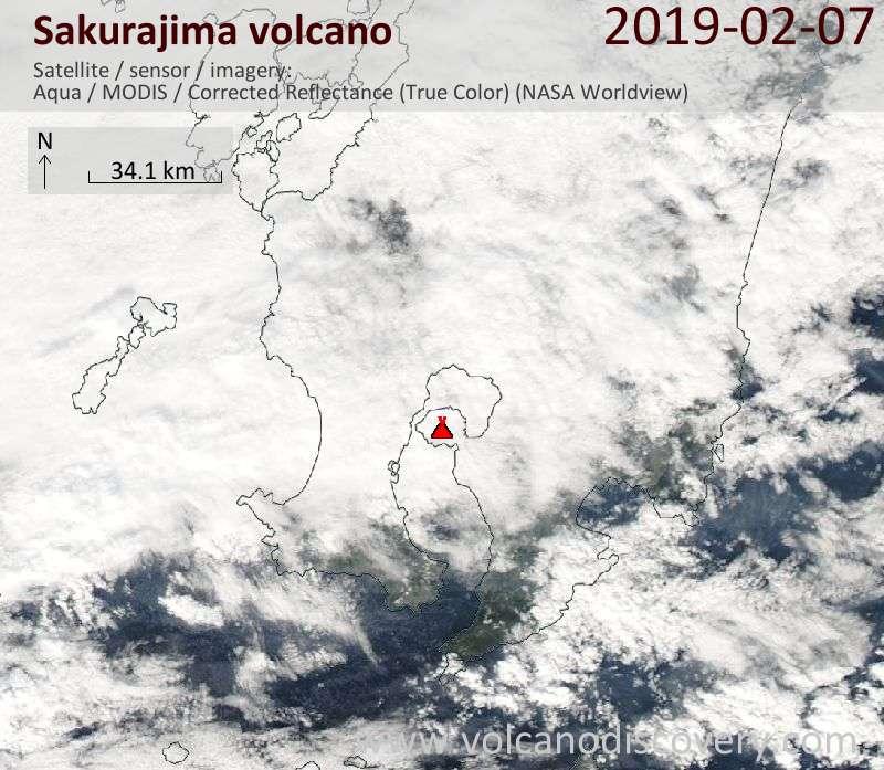 Satellite image of Sakurajima volcano on  7 Feb 2019