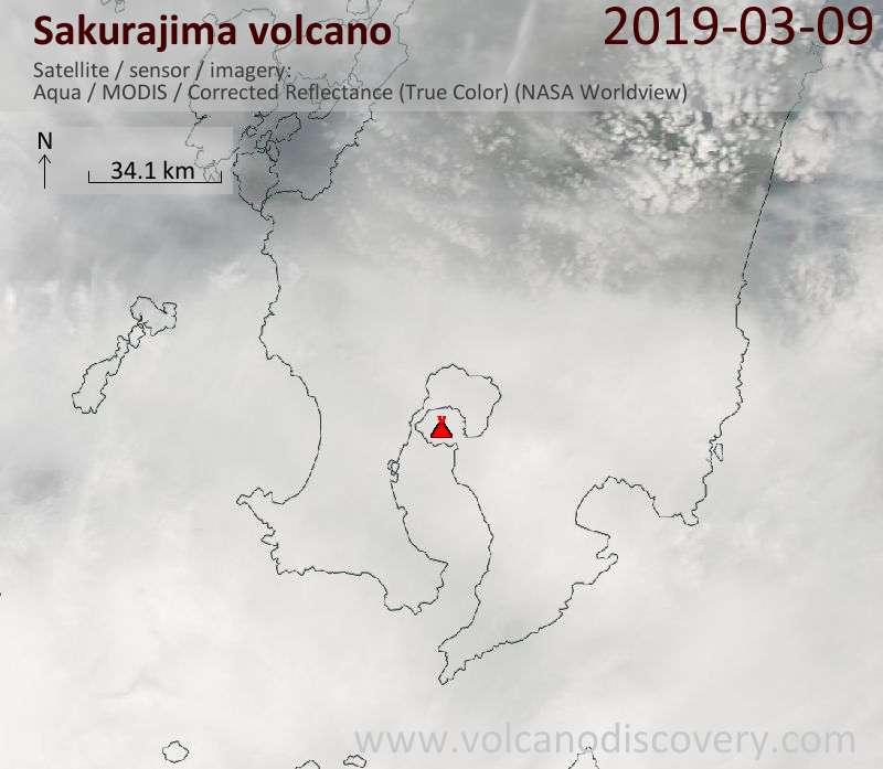Satellite image of Sakurajima volcano on 10 Mar 2019