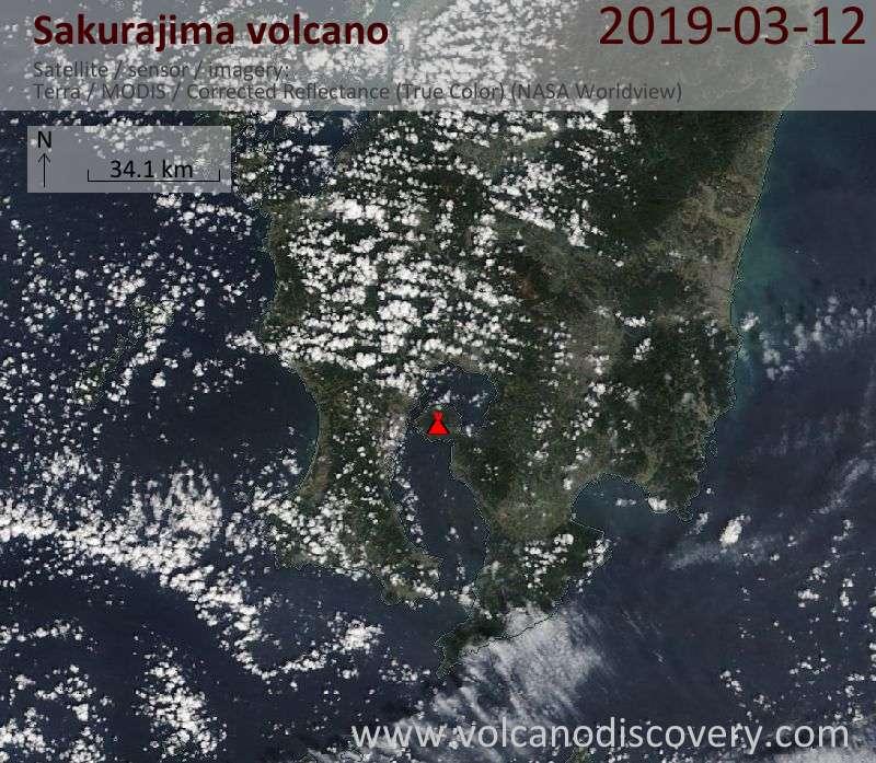 Satellite image of Sakurajima volcano on 12 Mar 2019