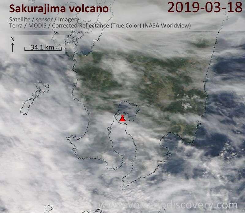 Спутниковое изображение вулкана Sakurajima 18 Mar 2019