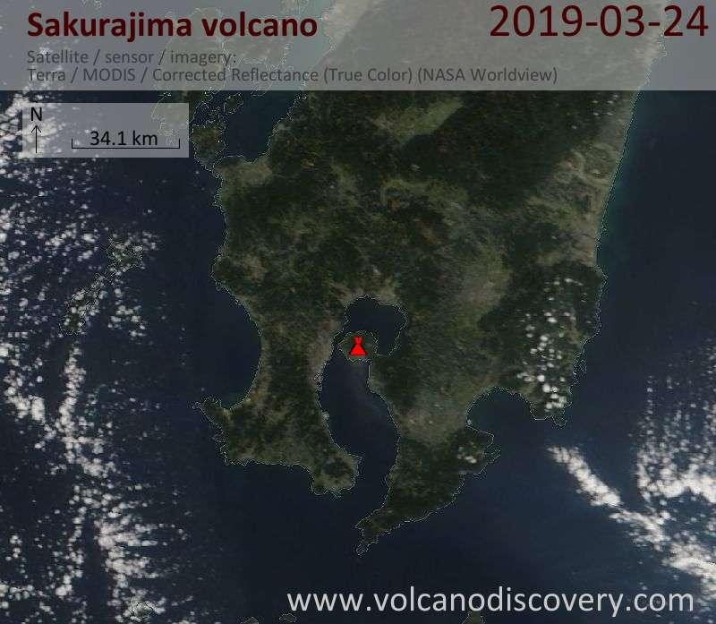 Спутниковое изображение вулкана Sakurajima 24 Mar 2019