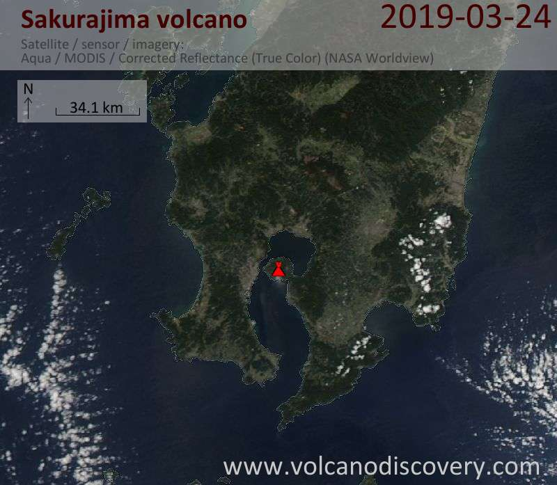 Спутниковое изображение вулкана Sakurajima 25 Mar 2019