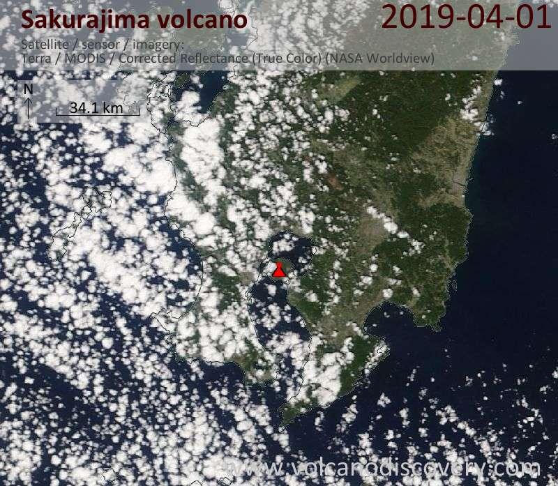 Satellite image of Sakurajima volcano on  1 Apr 2019