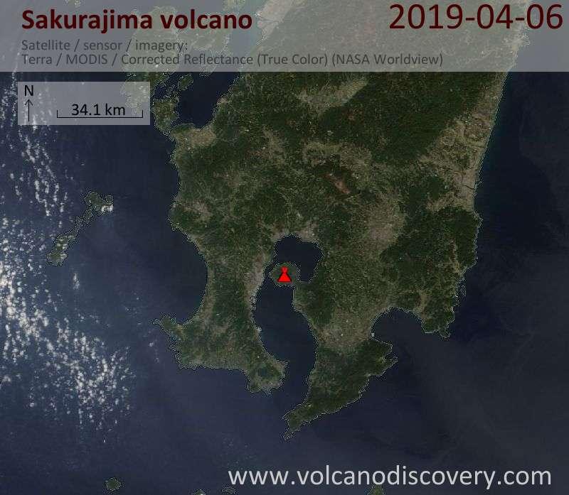 Satellite image of Sakurajima volcano on  6 Apr 2019