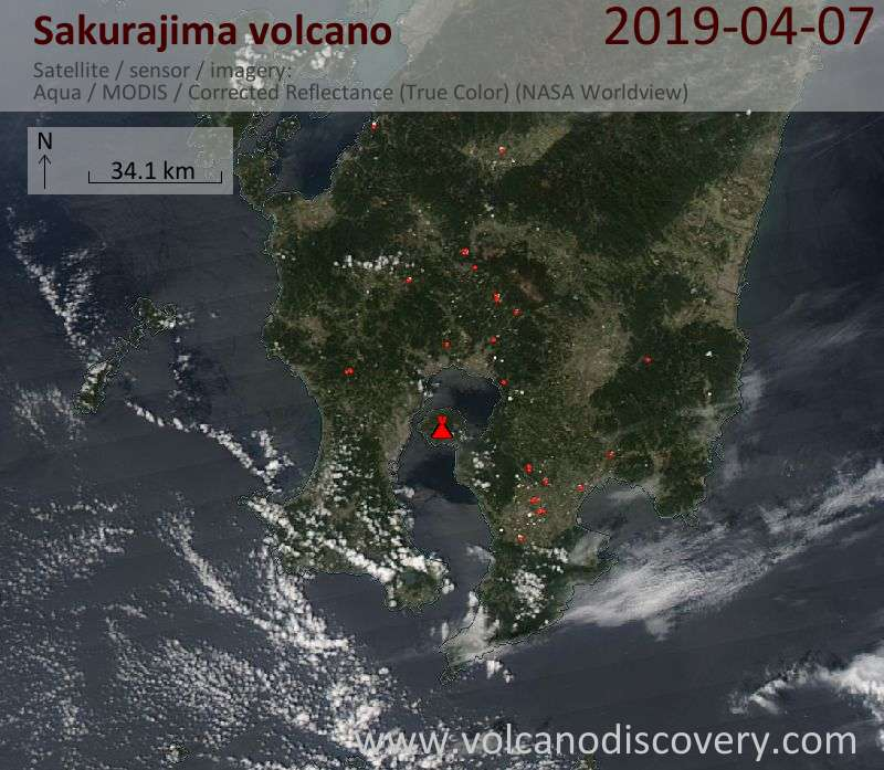 Satellite image of Sakurajima volcano on  7 Apr 2019