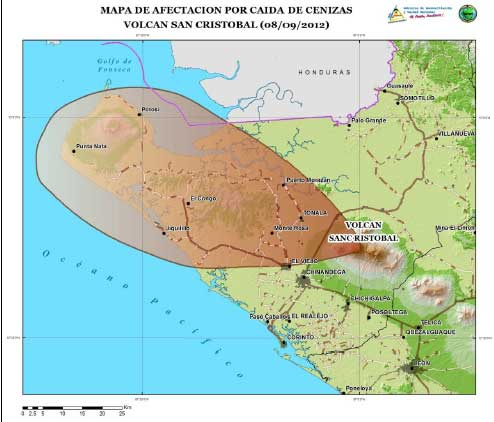 Ash fall map of the 8 Sep eruption (INETER)