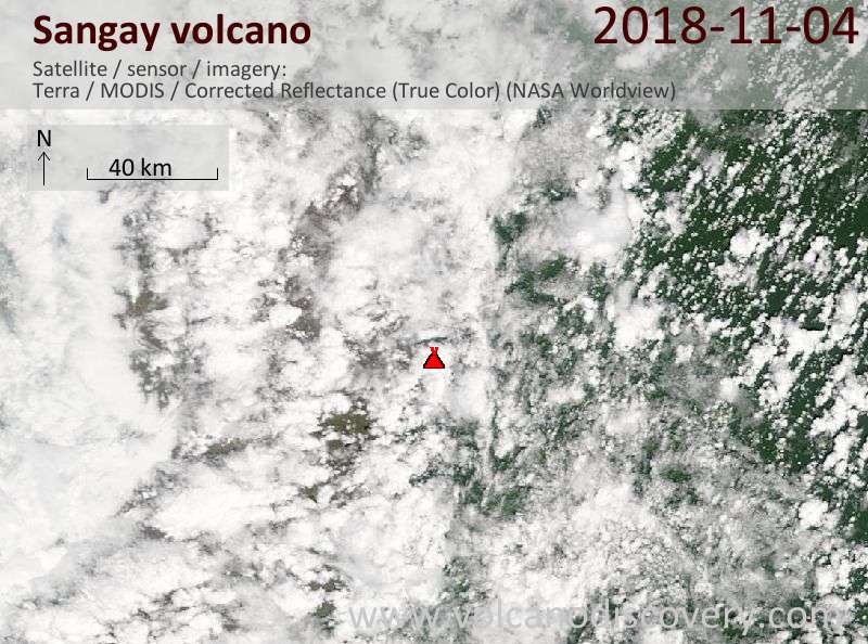 Satellite image of Sangay volcano on  4 Nov 2018