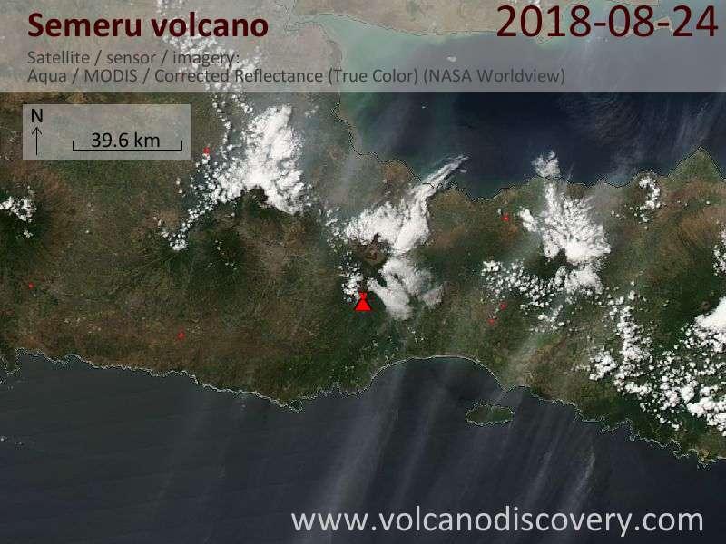 Satellite image of Semeru volcano on 24 Aug 2018