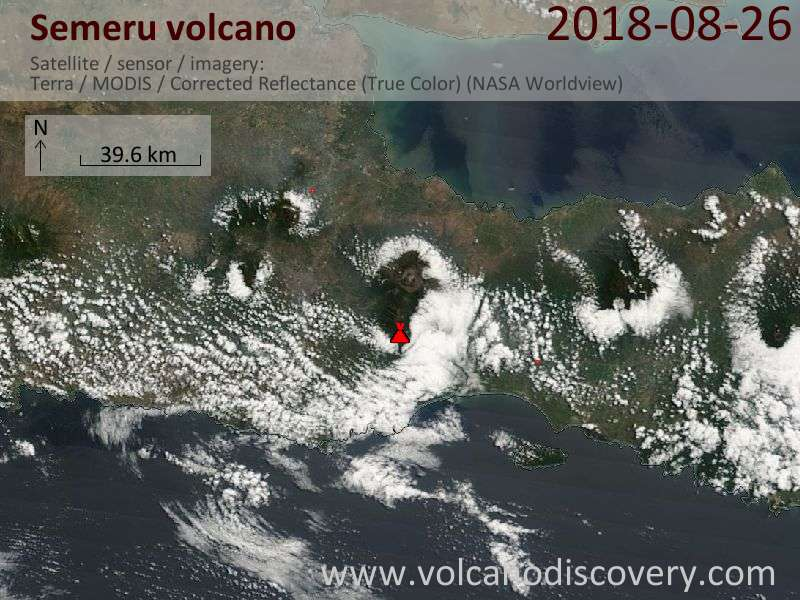 Satellite image of Semeru volcano on 26 Aug 2018