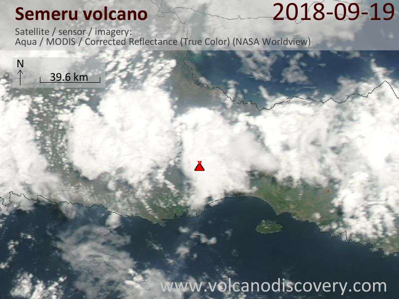 Satellite image of Semeru volcano on 19 Sep 2018