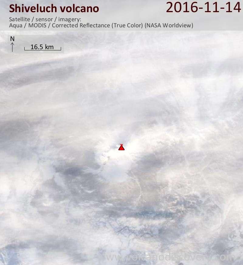 Satellite image of Shiveluch volcano on 15 Nov 2016