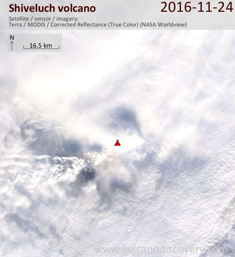 Satellite image of Shiveluch volcano on 24 Nov 2016