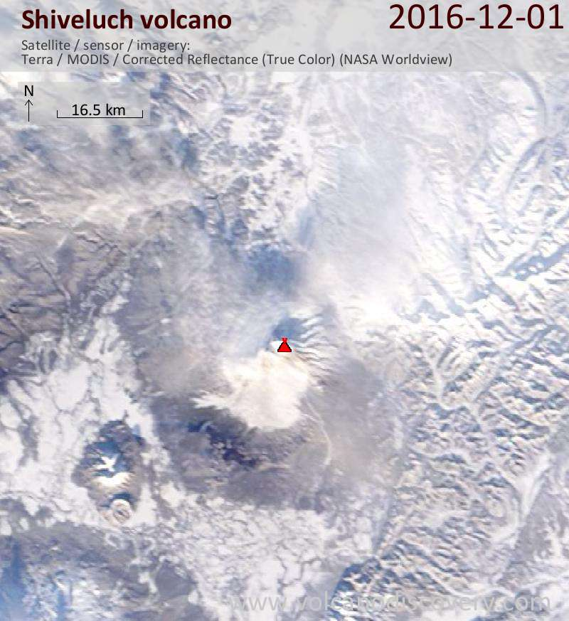Satellite image of Shiveluch volcano on  1 Dec 2016