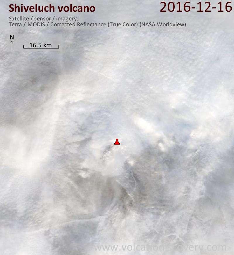 Satellite image of Shiveluch volcano on 16 Dec 2016