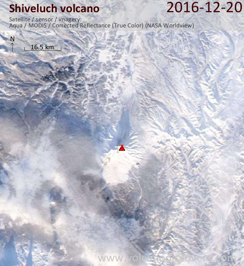Satellite image of Shiveluch volcano on 20 Dec 2016
