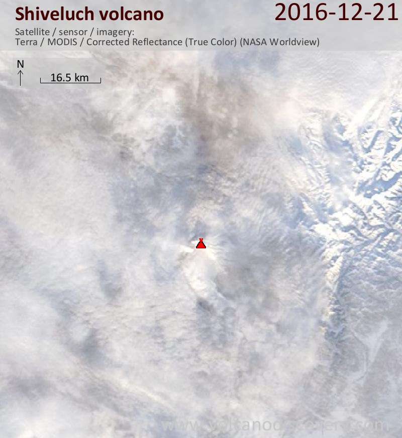 Satellite image of Shiveluch volcano on 21 Dec 2016
