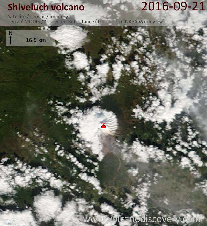 Satellite image of Shiveluch volcano on 21 Sep 2016