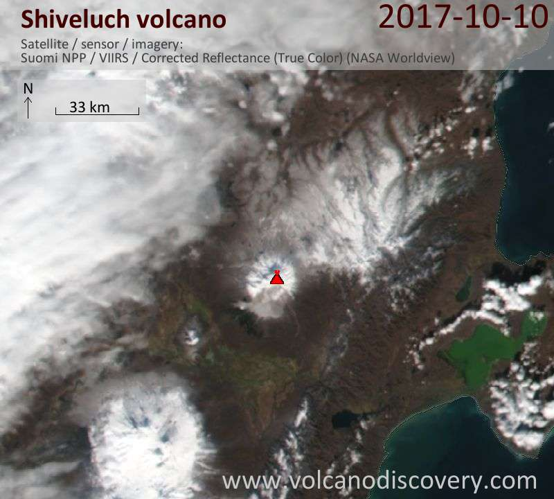 Satellite image of Shiveluch volcano on 10 Oct 2017