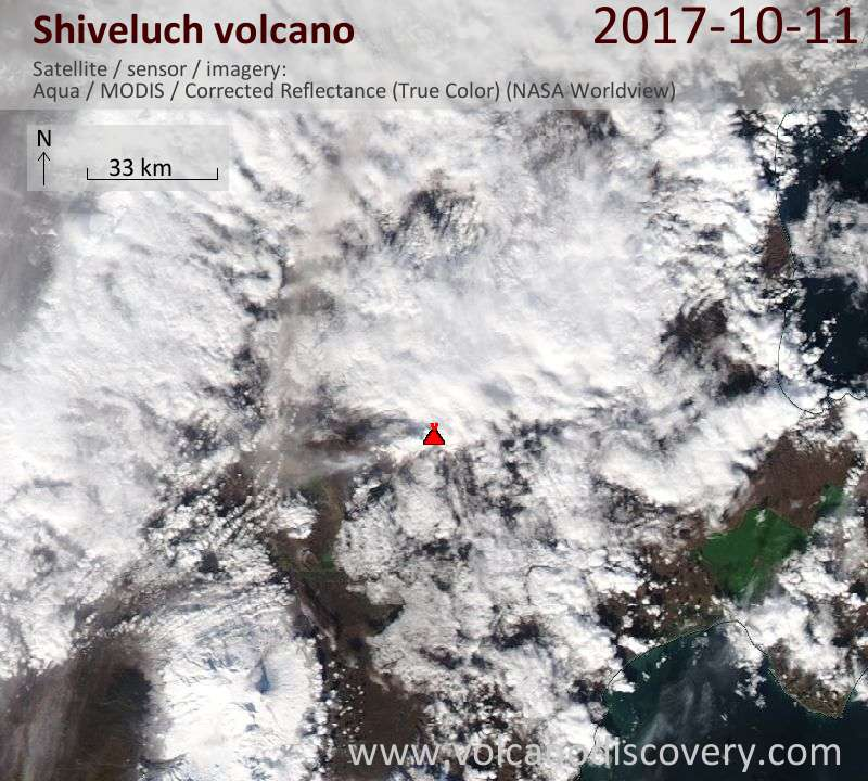 Satellite image of Shiveluch volcano on 11 Oct 2017