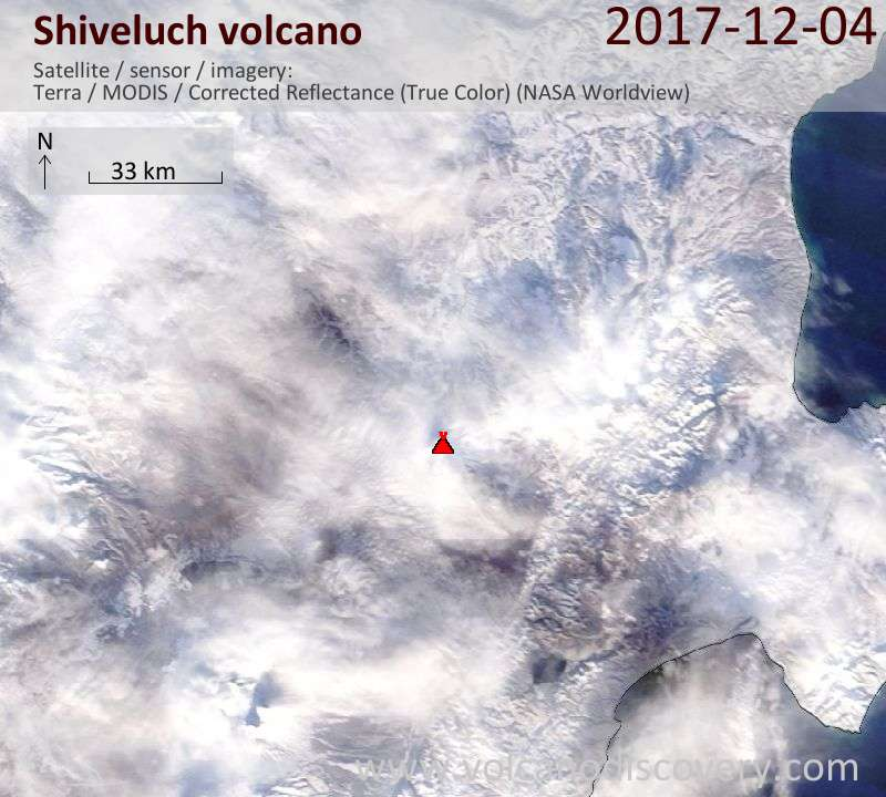 Satellite image of Shiveluch volcano on  4 Dec 2017