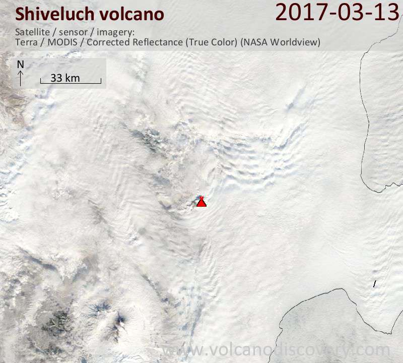 Satellite image of Shiveluch volcano on 14 Mar 2017