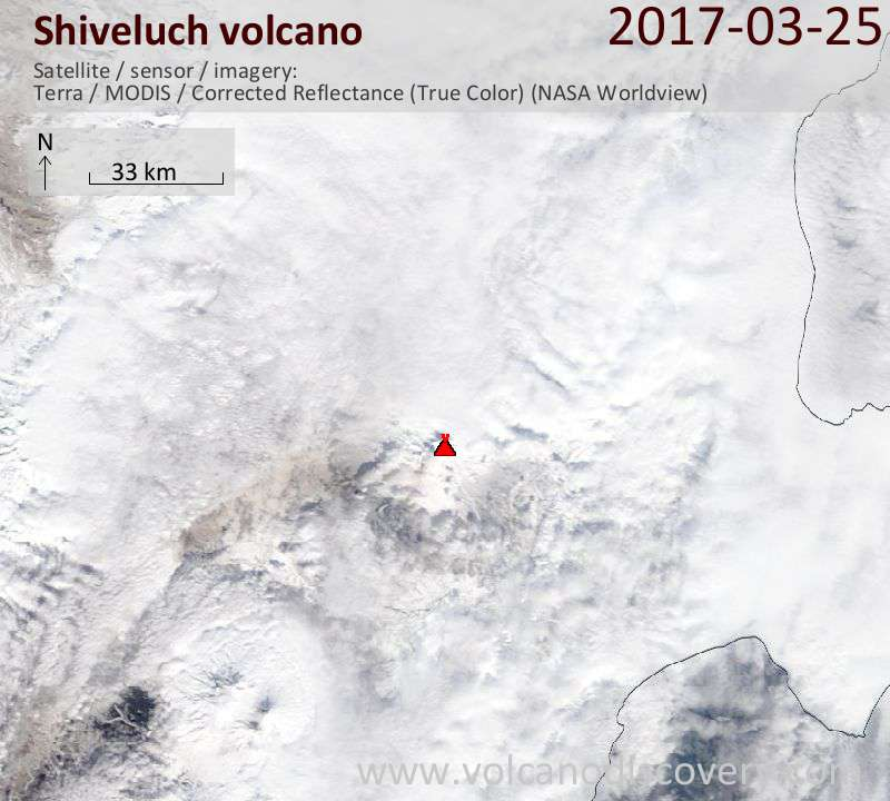 Satellite image of Shiveluch volcano on 25 Mar 2017