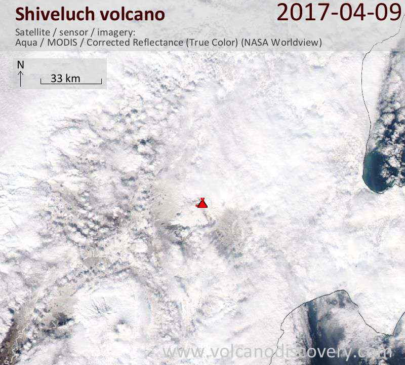 Satellite image of Shiveluch volcano on 10 Apr 2017