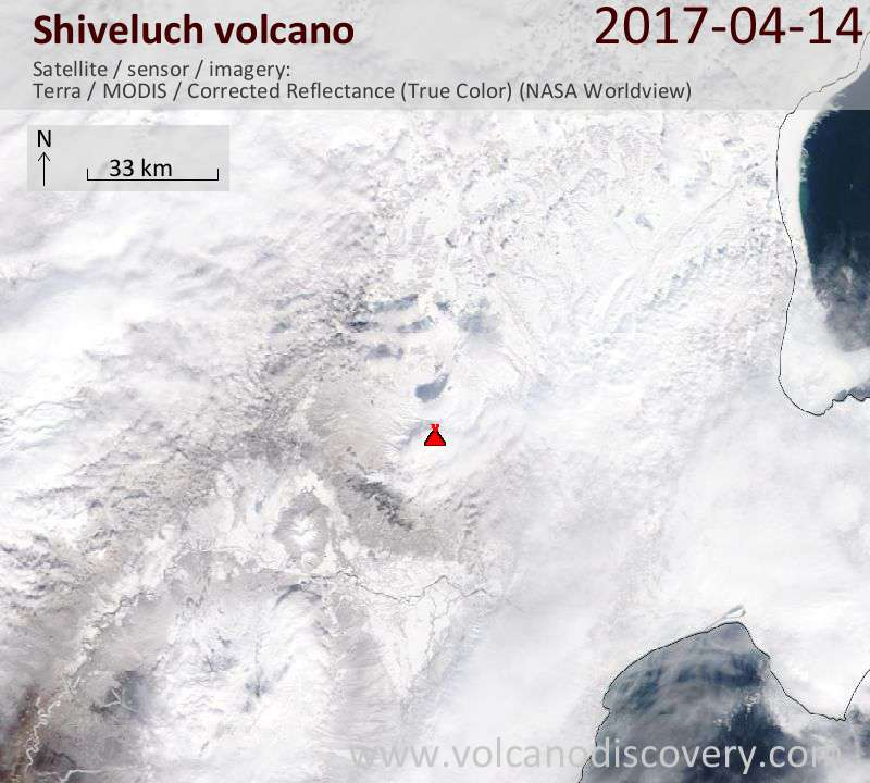 Satellite image of Shiveluch volcano on 14 Apr 2017