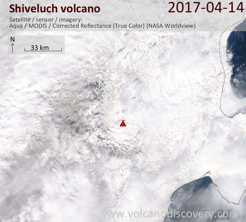 Satellite image of Shiveluch volcano on 15 Apr 2017