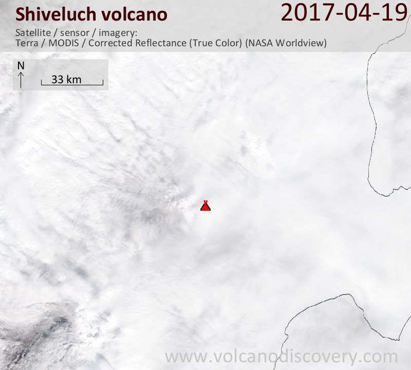 Satellite image of Shiveluch volcano on 19 Apr 2017