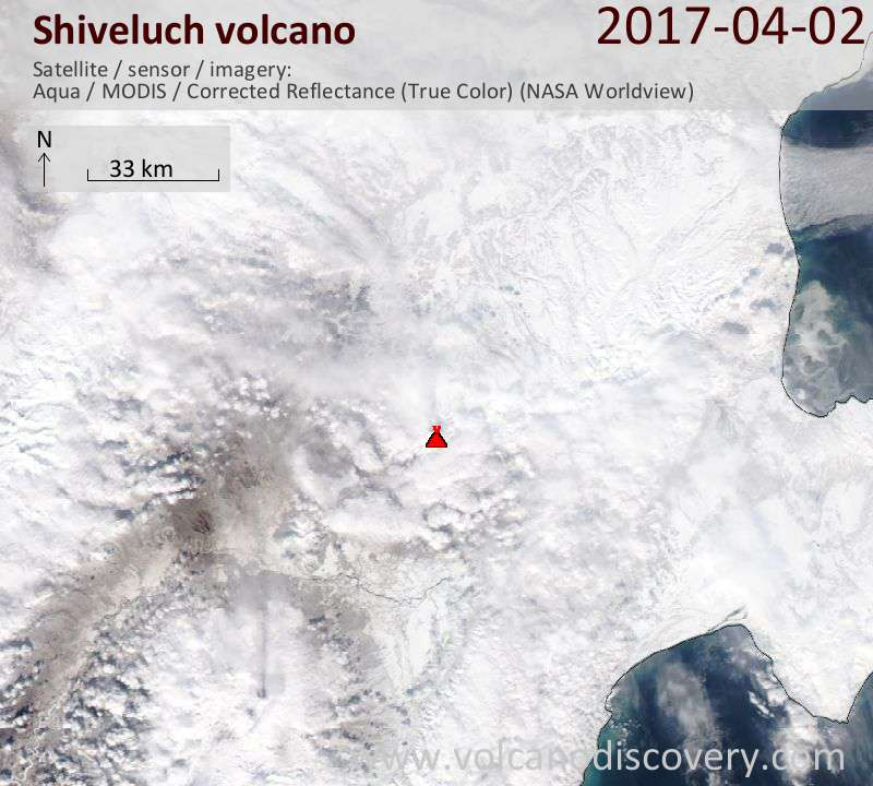 Satellite image of Shiveluch volcano on  2 Apr 2017
