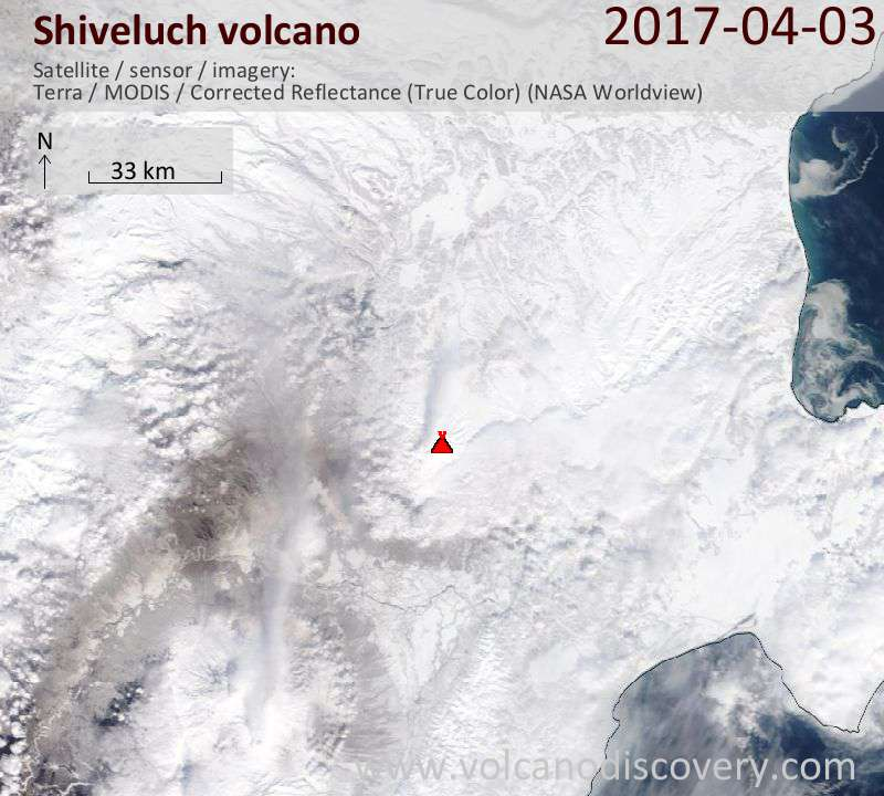 Satellite image of Shiveluch volcano on  3 Apr 2017