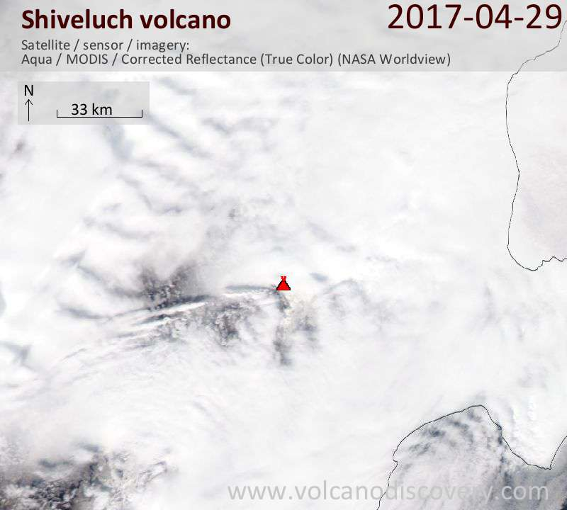 Satellite image of Shiveluch volcano on 30 Apr 2017