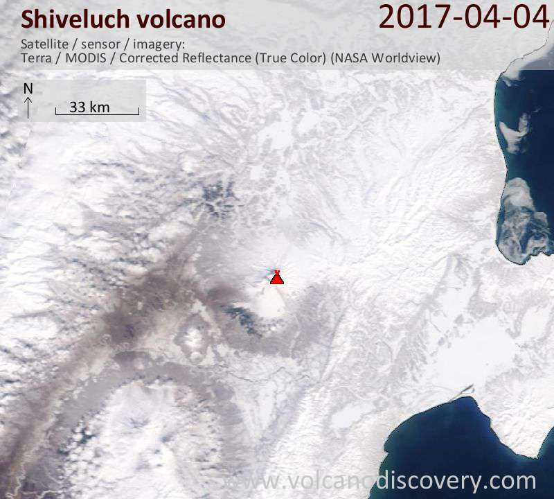 Satellite image of Shiveluch volcano on  4 Apr 2017