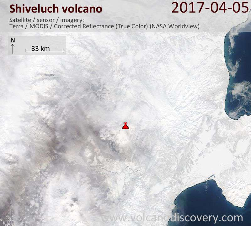Satellite image of Shiveluch volcano on  5 Apr 2017