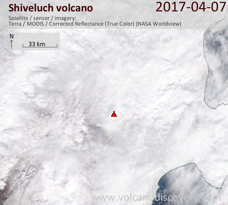 Satellite image of Shiveluch volcano on  7 Apr 2017
