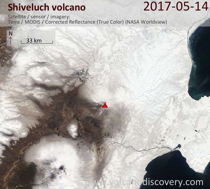 Satellite image of Shiveluch volcano on 14 May 2017