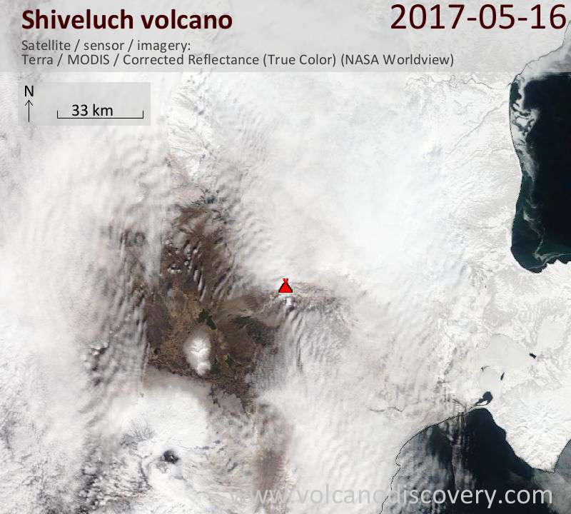Satellite image of Shiveluch volcano on 16 May 2017