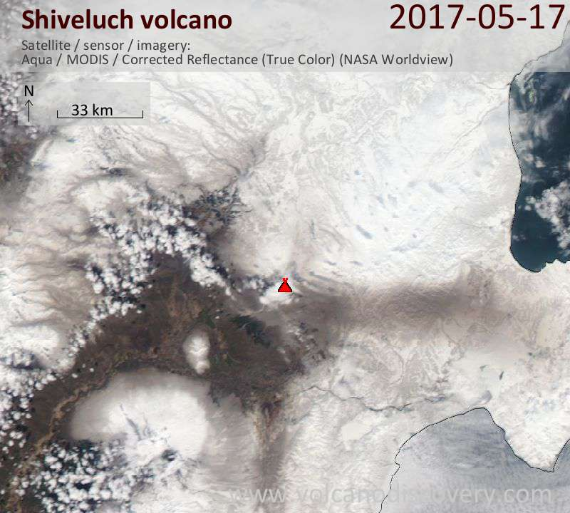 Satellite image of Shiveluch volcano on 17 May 2017