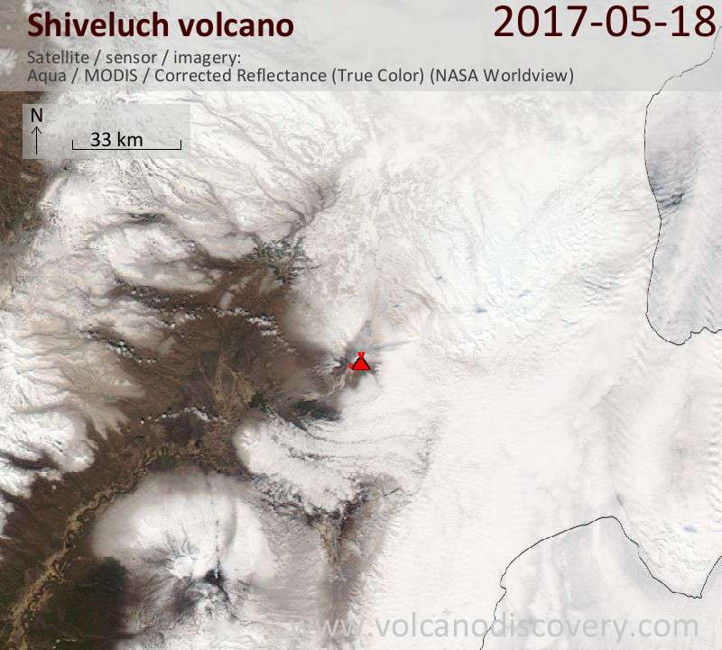 Satellite image of Shiveluch volcano on 18 May 2017