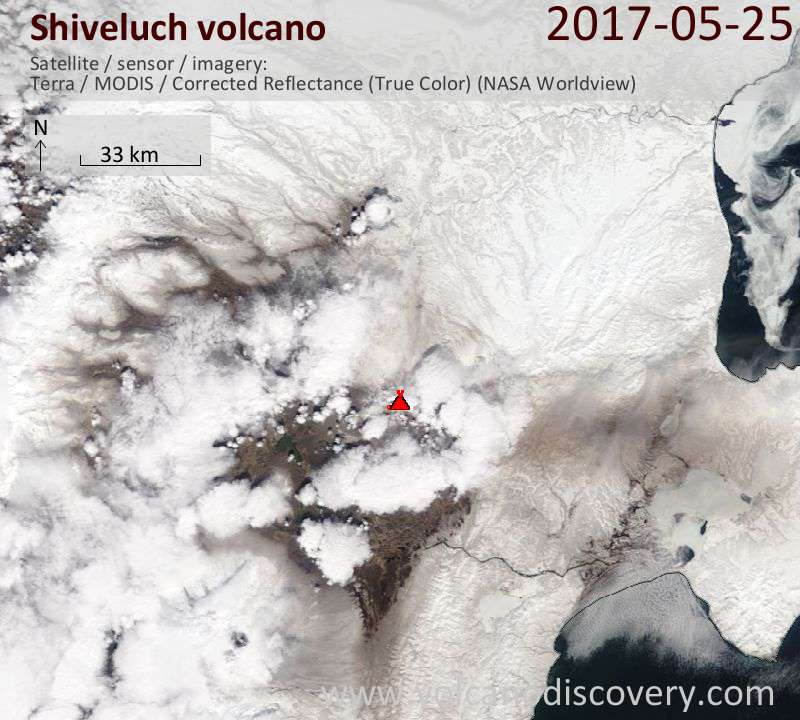Satellite image of Shiveluch volcano on 26 May 2017