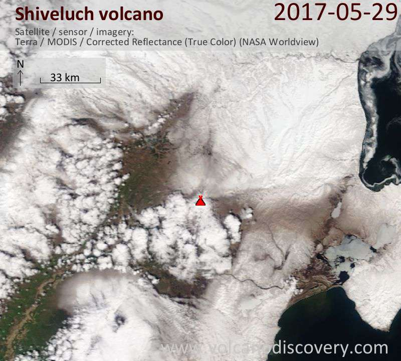 Satellite image of Shiveluch volcano on 29 May 2017