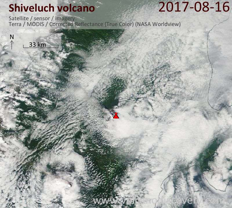Satellite image of Shiveluch volcano on 16 Aug 2017