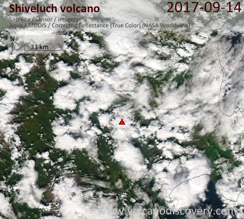Satellite image of Shiveluch volcano on 14 Sep 2017
