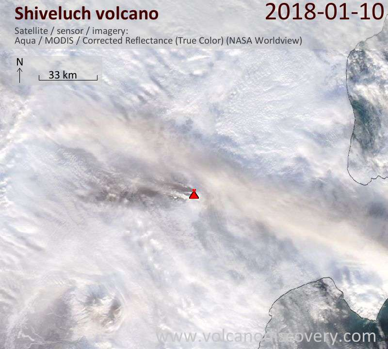 Satellite image of Shiveluch volcano on 10 Jan 2018