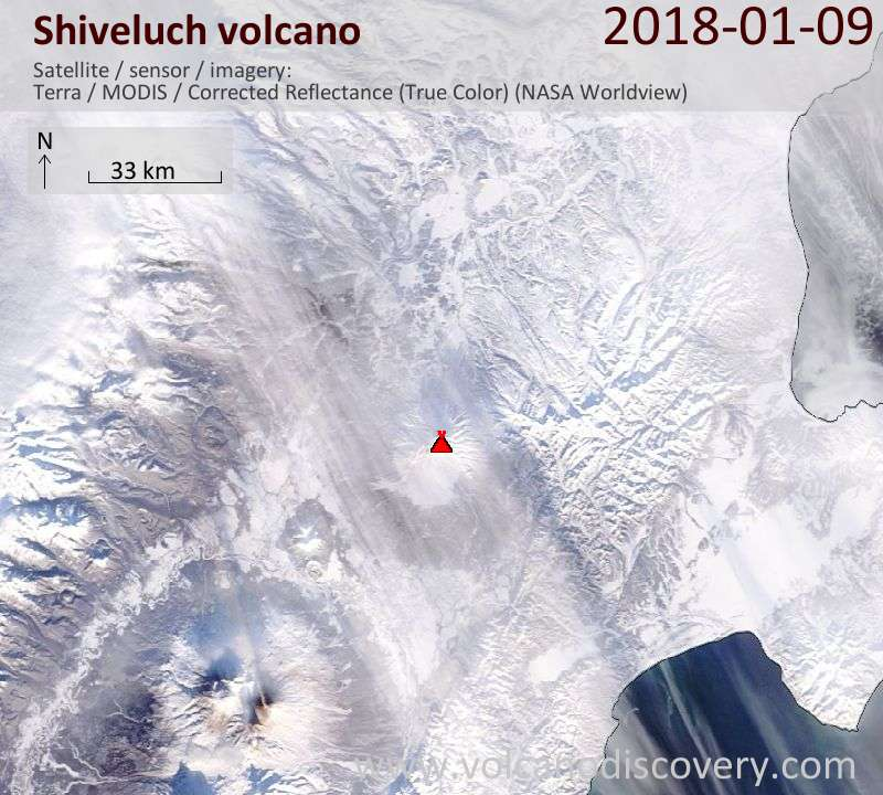 Satellite image of Shiveluch volcano on  9 Jan 2018